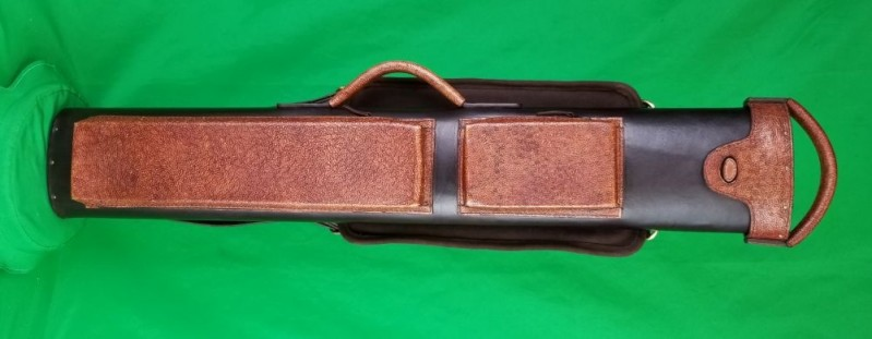 2x5 Black Veg Tan Tooling Leather Case with Brown Hand-Tooled Pocket Faces