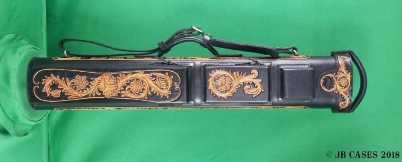 3x6 Black Leather Case with Tan Floral Tooling