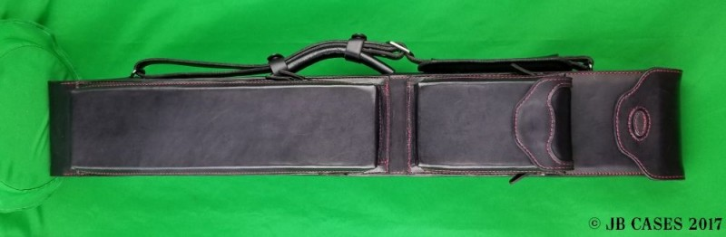 3x6 Black (Red Stitching) Leather Mason Case