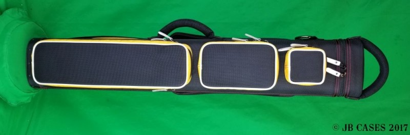 3x6 Black Ultimate Rugged with Yellow Pocket Sides and Red Stitching