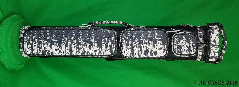 4x8 Black Ultimate Hybrid with Black and White Splatter-Print Leather and Pocket Tray