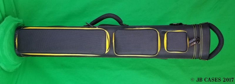 4x8 Black Ultimate Rugged with Yellow Pocket Sides and Stitching
